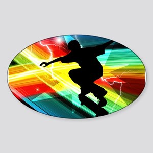 Skateboarder in Criss Cross L Sticker (Oval)