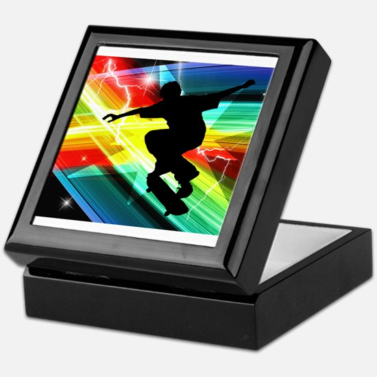 Skateboarder in Criss Cross L Keepsake Box