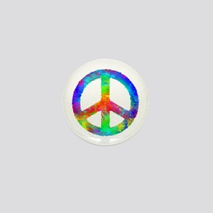 Distressed Rainbow Peace Sign Mini Button
