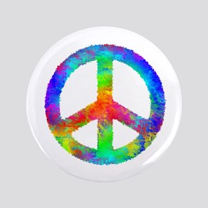 Distressed Rainbow Peace Sign Button