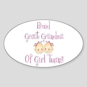 Proud Great Grandma Girls Oval Sticker
