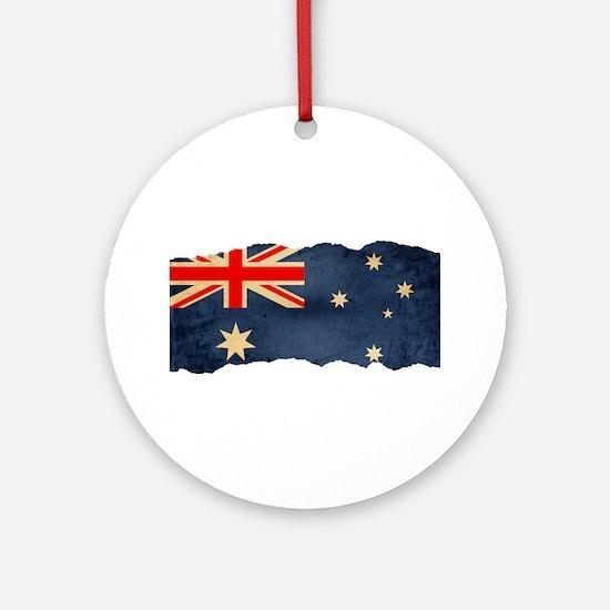 Grunge Australian Flag Ornament (Round)