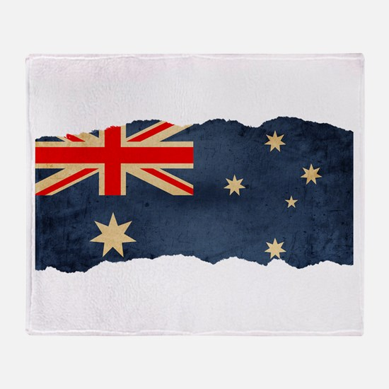 Grunge Australian Flag Throw Blanket