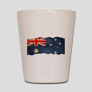 Grunge Australian Flag Shot Glass