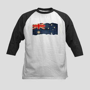 Grunge Australian Flag Kids Baseball Jersey