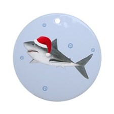 Christmas - Santa - Shark Ornament (Round)