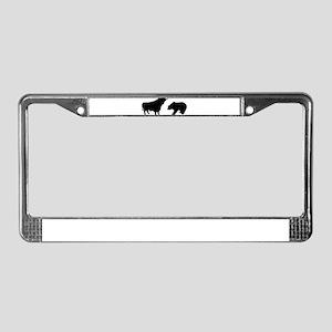 Bull bear License Plate Frame