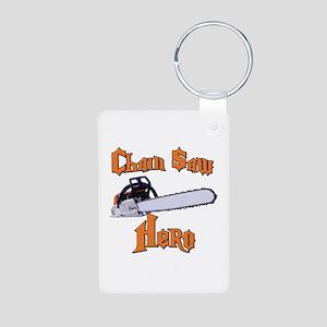 Chain Saw Hero Chainsaw Aluminum Photo Keychain