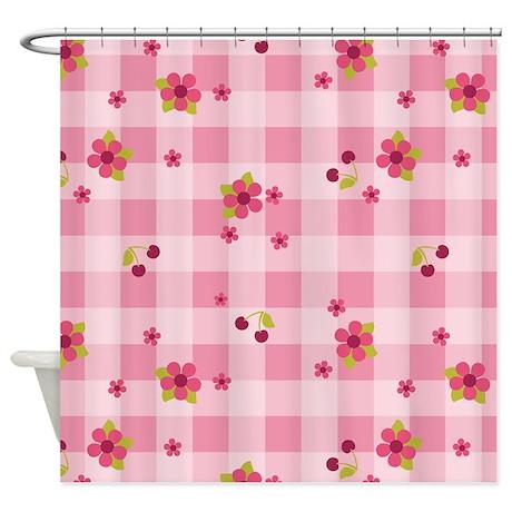 Flower Gingham Pink Shower Curtain