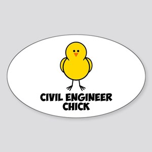 Civil Engineer Chick Sticker (Oval)