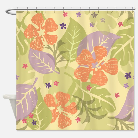 Flower Tropical Yellow Shower Curtain