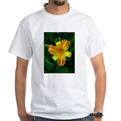 .bi-color daylily. White T-Shirt