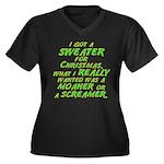 Sweater Women's Plus Size V-Neck Dark T-Shirt