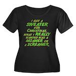 Sweater Women's Plus Size Scoop Neck Dark T-Shirt