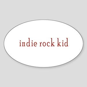 Indie Rock Kid Oval Sticker