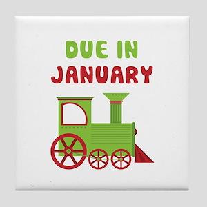 Christmas Train January Tile Coaster