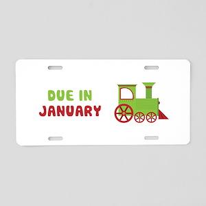 Christmas Train January Aluminum License Plate