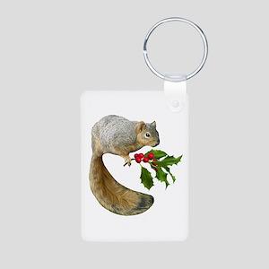 Squirrel Holly Aluminum Photo Keychain