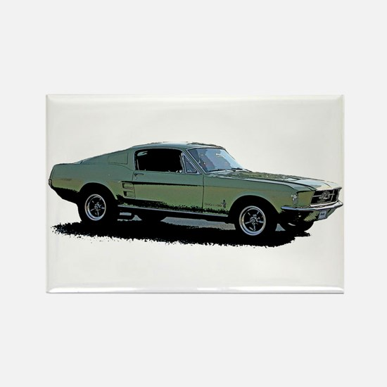67 Mustang 4 Rectangle Magnet