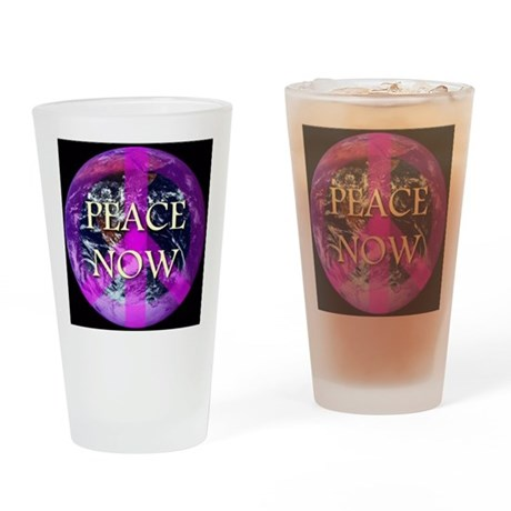 Peace Now Earth Symbol Drinking Glass
