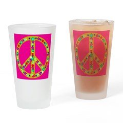 Peace Symbol Bronze Stars on Drinking Glass