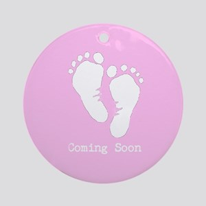 New Baby Coming Soon Ornament (Round)