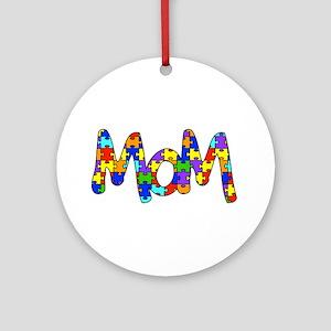 Mom Autism Awareness Ornament (Round)