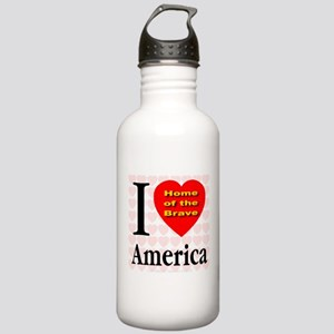 I Love America Home of the Br Stainless Water Bott
