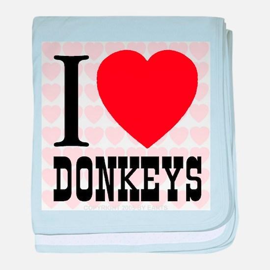 I Love Donkeys baby blanket