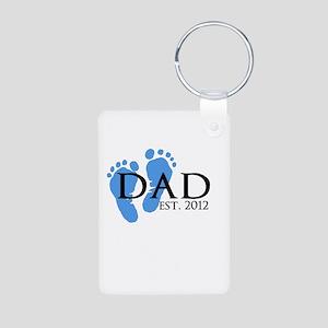 Dad Est 2012 Aluminum Photo Keychain