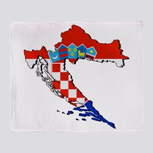 Croatia Map Throw Blanket