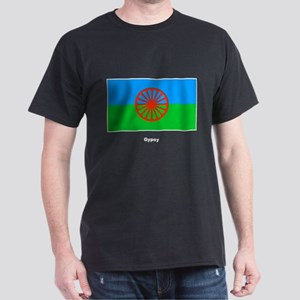 Gypsy Flag (Front) Black T-Shirt