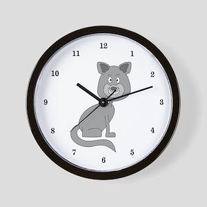 Gray Cat Wall Clock