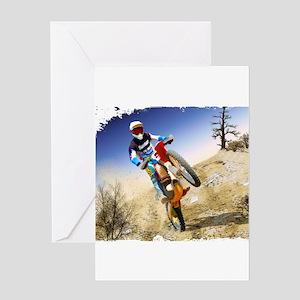 Desert Wheelie Motocross with Edges Greeting Cards