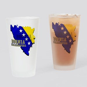 Flag Map of Bosnia Drinking Glass