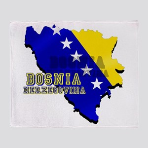 Flag Map of Bosnia Throw Blanket
