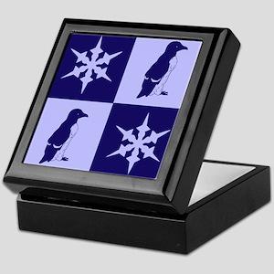Penguin Quilt (blue) Keepsake Box