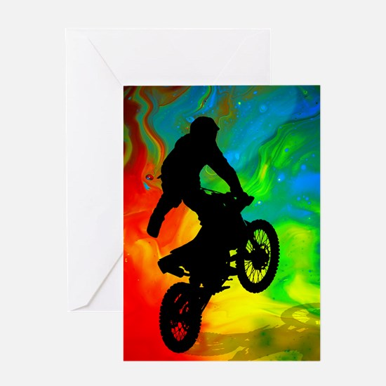 Motocross in a Solar Melt Down Greeting Cards