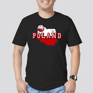 Polish Flag Map Men's Fitted T-Shirt (dark)