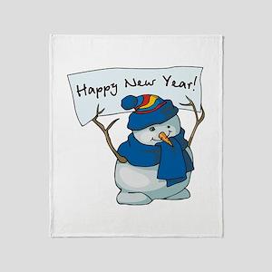 Happy New Years Snowman Throw Blanket