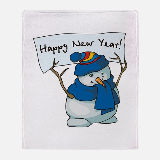 Happy New Years Snowman Throw Blanket