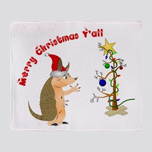 Armadillo Christmas Throw Blanket