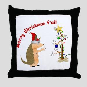 Armadillo Christmas Throw Pillow