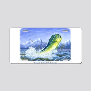 Dolphin in the Weeds Aluminum License Plate