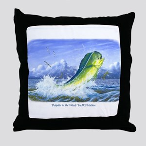 Dolphin in the Weeds Throw Pillow