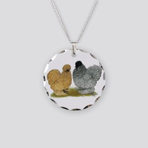 Sizzle Chickens Necklace Circle Charm