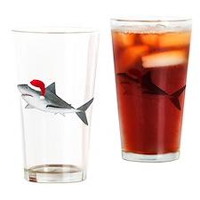 Christmas - Santa - Shark Drinking Glass