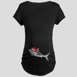 Christmas - Santa - Shark Maternity Dark T-Shirt