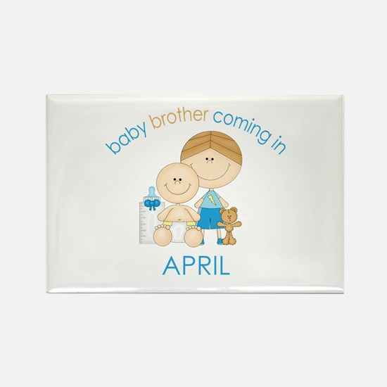 Baby Bro Due April Rectangle Magnet