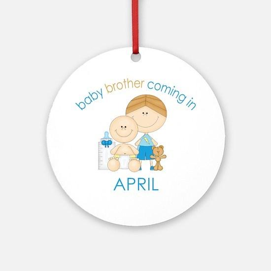 Baby Bro Due April Ornament (Round)